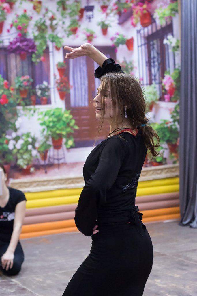 Mónica Vázquez en clases de improviación flamenca